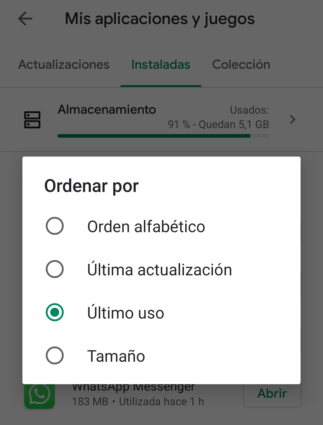 Apps ultimo uso